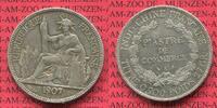 Französisch Indochina Piastre de Commerce Französisch Indochina 1907 A Piaster Silber Piastre de Commerce Trade Coin